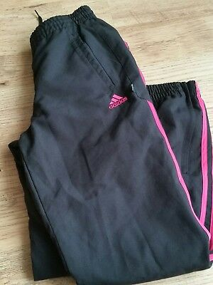 Adidas Jogging Bottoms Size 11-12 yrs. Girls Black With Pink Stripe