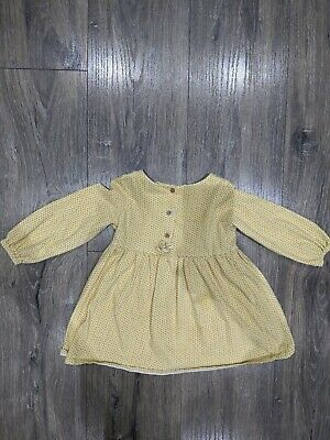 Baby Girls Next Ochre Yellow Long Sleeved Dress 12-18 Months