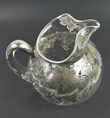 Antique 1930 Cambridge Sterling Silver Grape & Leaf Overlay Glass Water Pitcher