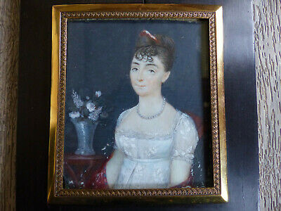 FINE LARGE ANTIQUE EARLY 19th CENTURY ELEGANT LADY MINIATURE PORTRAIT 1820's