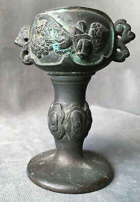 Vintage 4 Inch Asian Bronze Finish Lamp Base For Parts