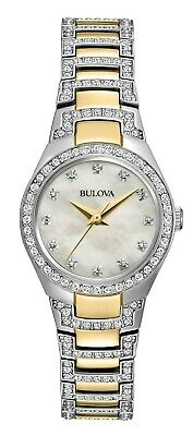 Bulova Women's Quartz Crystal Accent Two-Tone Bracelet 25mm Watch 98L198