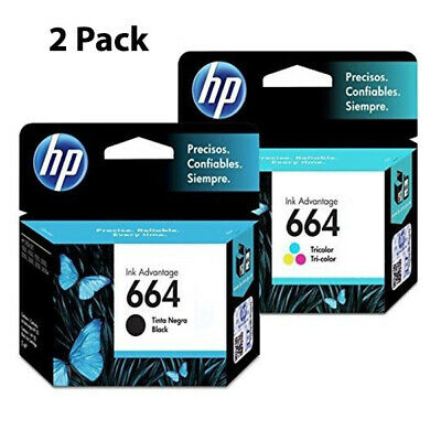 2 Pack HP 664 Ink Cartridge Black + TRI-COLOR Original F6V28AL, F6V29A (Combo)