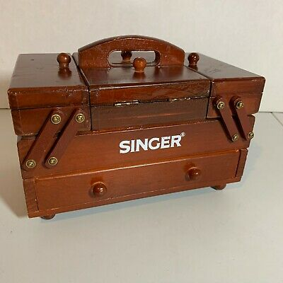 Vintage SINGER Accordion Sewing Wood Box Multi-Storage Drawers Beautiful