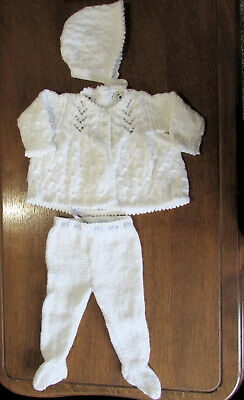 Baby Soft white 3 piece Pram suit hand knitted with james brett 0 - 3 months new