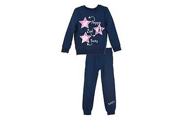 Licensed Girls Blue Peppa Pig Tracksuit Sweatshirt and Bottoms Age 3 5 7 Years