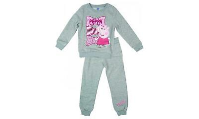Licensed Girls Grey Peppa Pig Tracksuit Sweatshirt and Bottoms Age 8 Years