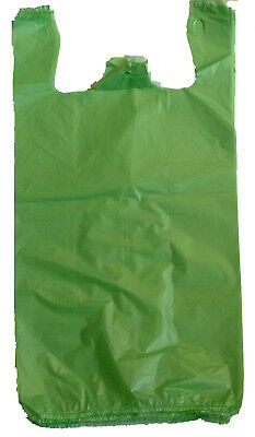 2000 Green Plastic T-shirt Shopping Bags Handles Retail Grocery Large