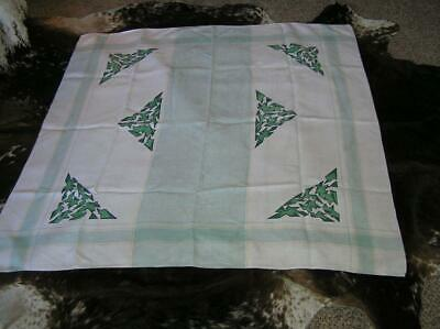 """1940s Abstract Arts & Crafts Mission Green Print Cotton Tablecloth 47"""" x 48"""""""