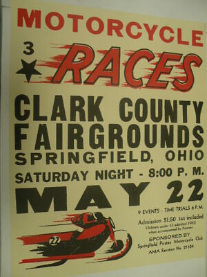 Vintage Motorcycle Races Clark County Fairgrounds Poster Harley Indian Triumph