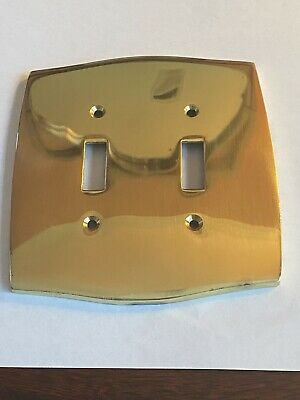 1 Single Solid Brass Double Decorative light switch plate cover W Screws Mirror