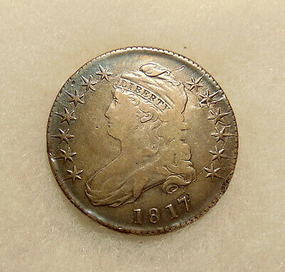 "1817 Capped Bust Half - O-105a ""Shattered Die"" Scarce R.4 - Nice Looking Coin"