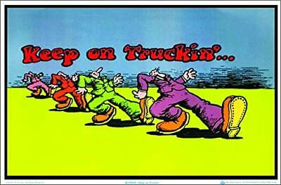 """Keep on Truckin by R Crumb Laminated Blacklight Poster - 35.5"""" x 23.5"""""""