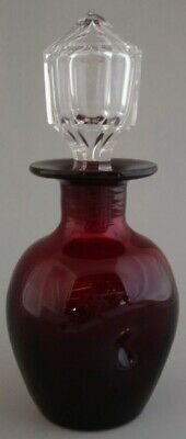 Ruby Glass Blown Pinched Cologne Decanter Cut Crystal Stopper Vintage Bohemian