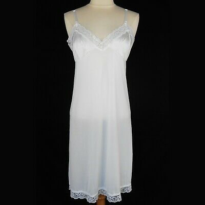 Vintage Sears White Antron Nylon Soft Silky Full Slip Lace Adjustable Strap 36