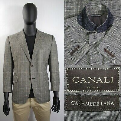 Lux Canali Blazer 52IT 42US/UK Gray Check Wool & Cashmere Italy Two Button