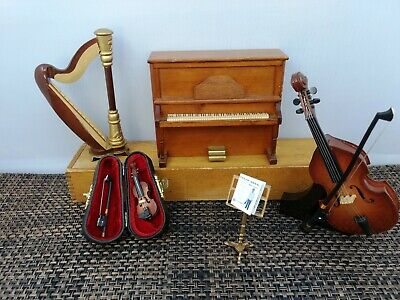 Dollhouse Musical 4 Pcs Instrument + Access. Vintage Mini Violin Harp Bass Piano