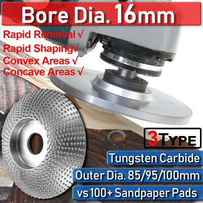 3Type Bore Internal Dia 16mm Tungsten Carbide Wood Carving Shaping Disc 85-100mm