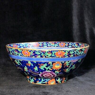 Staffordshire Pearlware Pottery punch bowl, Oriental Flowers on blue ground, ...