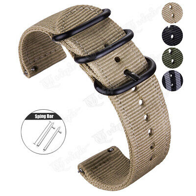 Quick Release Military Woven Nylon Canvas Fabric Band Strap Black Buckle 20 22mm