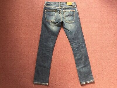 NUDIE JEANS CO GRIM TIM 32 x 32 SKINNY STRETCH DENIM BLUE ORGANIC COTTON ITALIAN