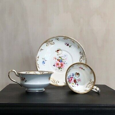Minton 'French Shape' trio, flowers pattern 793, circa 1835