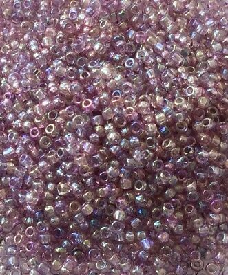 Japanese Bugle #2-6mm Lt Lilac Luster Sliver Lined AB Seed Beads 28Grams