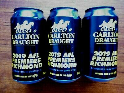 2019  Richmond Tigers Premiership Beer Cans x 3 Collectors piece- EMPTY CANS