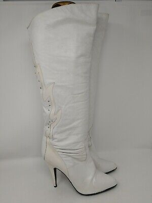 Vintage 80s white leather The WILD PAIR glam rock over the knee studded