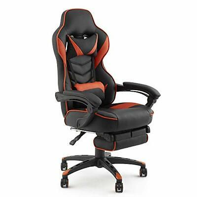 Gaming Chair Ergonomic Racing Style Recliner - PU Leather High Back Orange