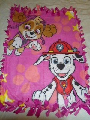 Blanket~ Pink Paw Patrol Toddler Hand Tied Double Sided Fleece Rag Blanket~New