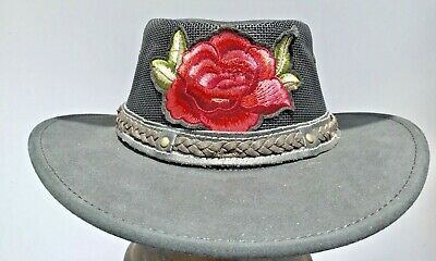 Buffalo leather breeze  hat Australian made hats Cowgirls style embroidered rose