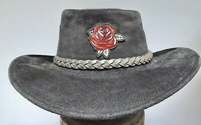 Buffalo leather hat Australian made hats Cowgirls style embroidered rose
