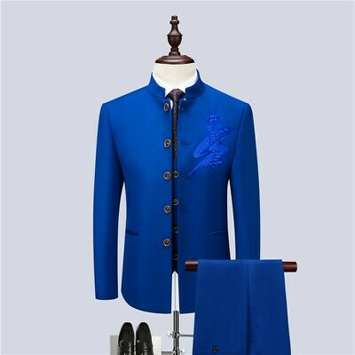 Mens Slim  3 Piece Jackets Vest Pants Chinese tunic suit Formal Single breasted