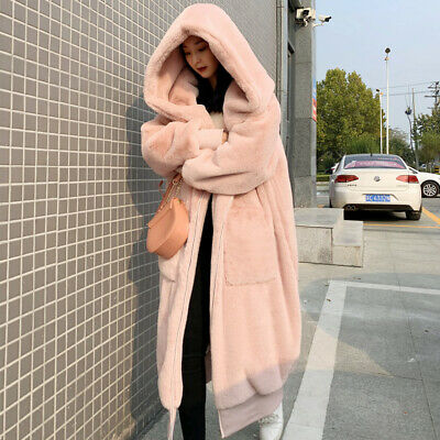 Winter Womens Fluffy Hooded Faux Rabbit Fur Coat Outwear Thick Warm Loose Casual
