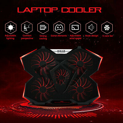 12-17 Inch 5 Fan Adjustable Gaming Laptop Cooling Stand Smart LED Touchscreen