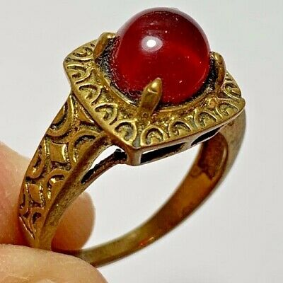 ANCIENT ROMAN COOPER RING WITH RARE RED STONE INTAGLIO 4.4gr 31mm (inner 20mm)