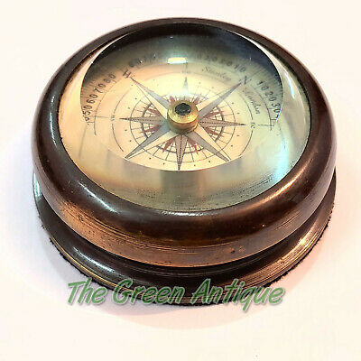 Antique Brass Floating Dial Compass Maritime Collectible Gift