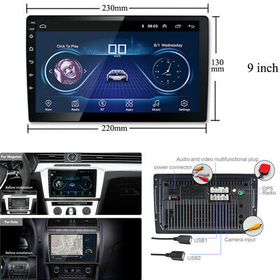 2 Din Touch Screen Android 9in Car Multimedia Radio Stereo Player GPS Navigation