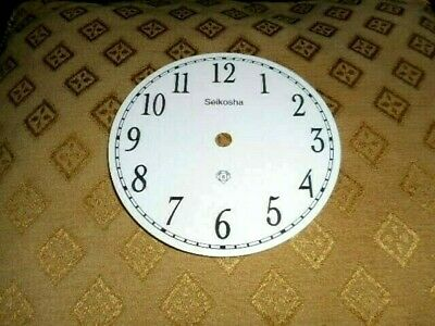 "Round Seikosha Paper (Card) Clock Dial- 5"" M/T- Arabic-GLOSS WHITE-Parts/Spares"
