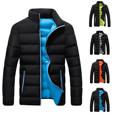 Mens Puffer Bubble Jacket Coat Winter Quilted Padded Zipper Outwear Overcoat