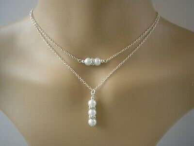 Two Strand Layered Drop Necklace Multi Chains Choker Double Layer Pearl 3UAD