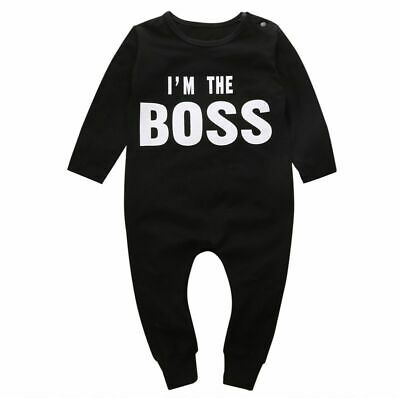Newborn Kids Baby Boy Girl Long Jumpsuit Romper O-neck Print Letter Outfits New