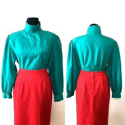 1980s Vintage XL Teal Secretary Blouse High Neck Sheridan Square Montgomery Ward