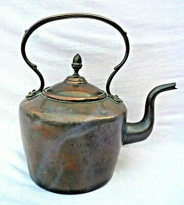 Large Antique Victorian Solid Copper Kettle With Stitched Seam (Unpolished) Vgc