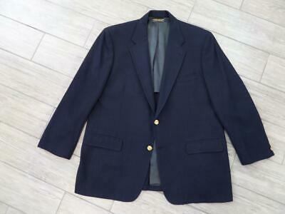 vintage BROOKS BROTHERS navy blue 46R blazer WORSTED WOOL thick
