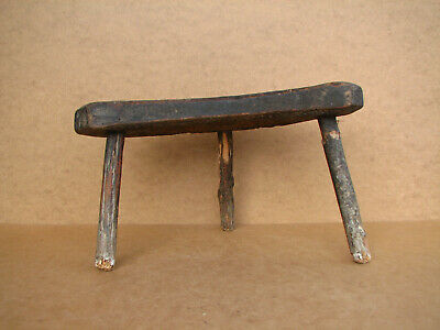 Old Antique Primitive Wooden Wood Chair Three Legged Milking Stool Rustic 19th.