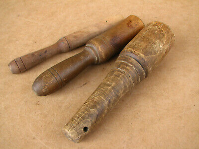 Old Antique Primitive Wooden Wood Mashers Kitchen Utensils Pestles Early 20th.