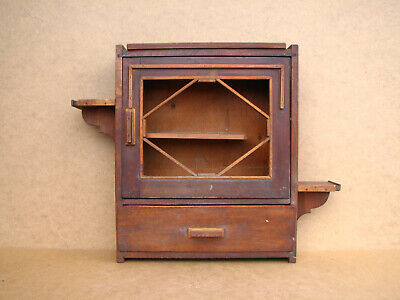 Old Antique Primitive Wooden Wood Wall Rack Chest Cabinet Storage Spices 1940's.
