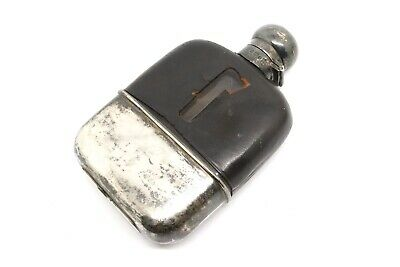 Nice Quality Antique C1911 Solid Silver & Glass Hip Flask #16586